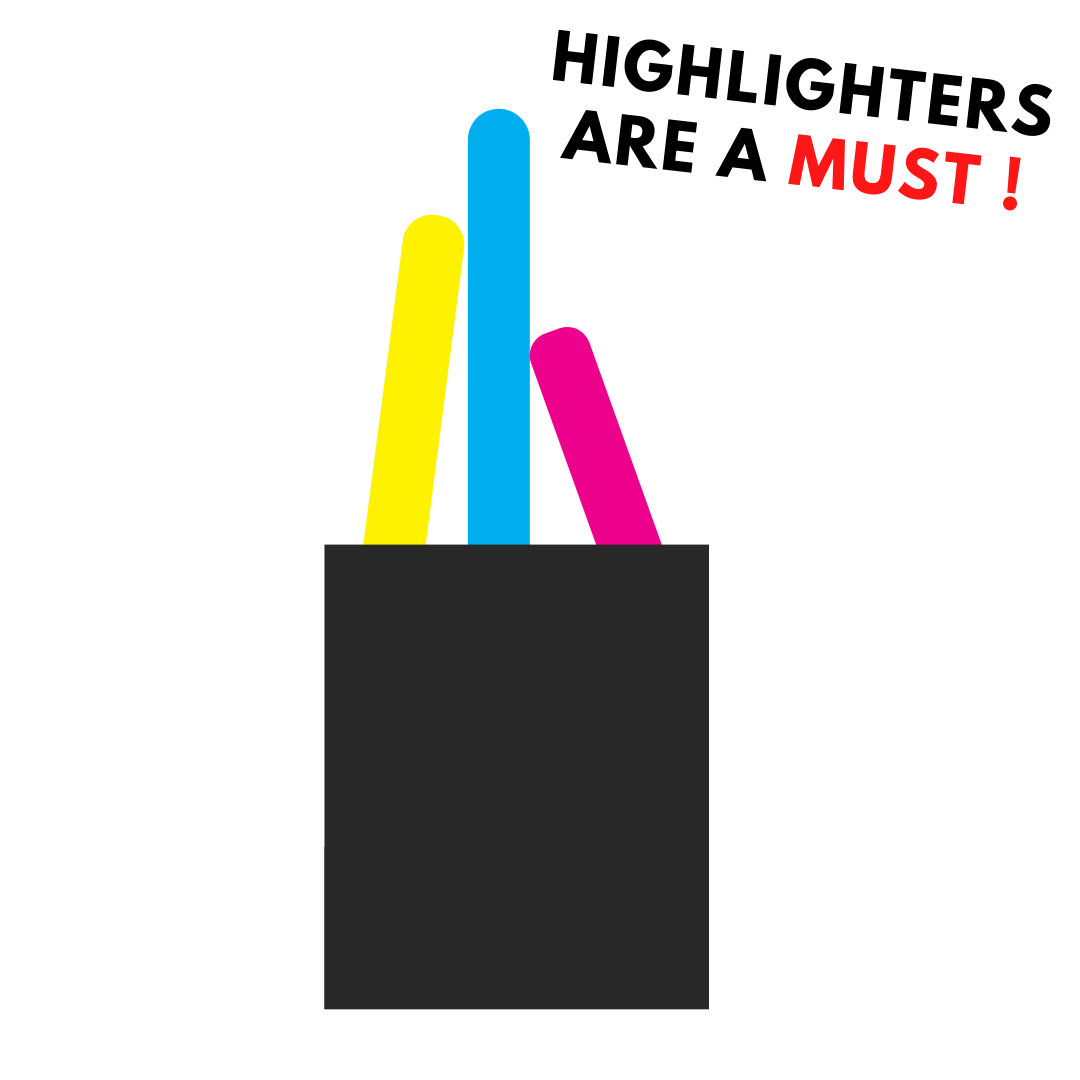 Highlighters stationary for law students lawyers