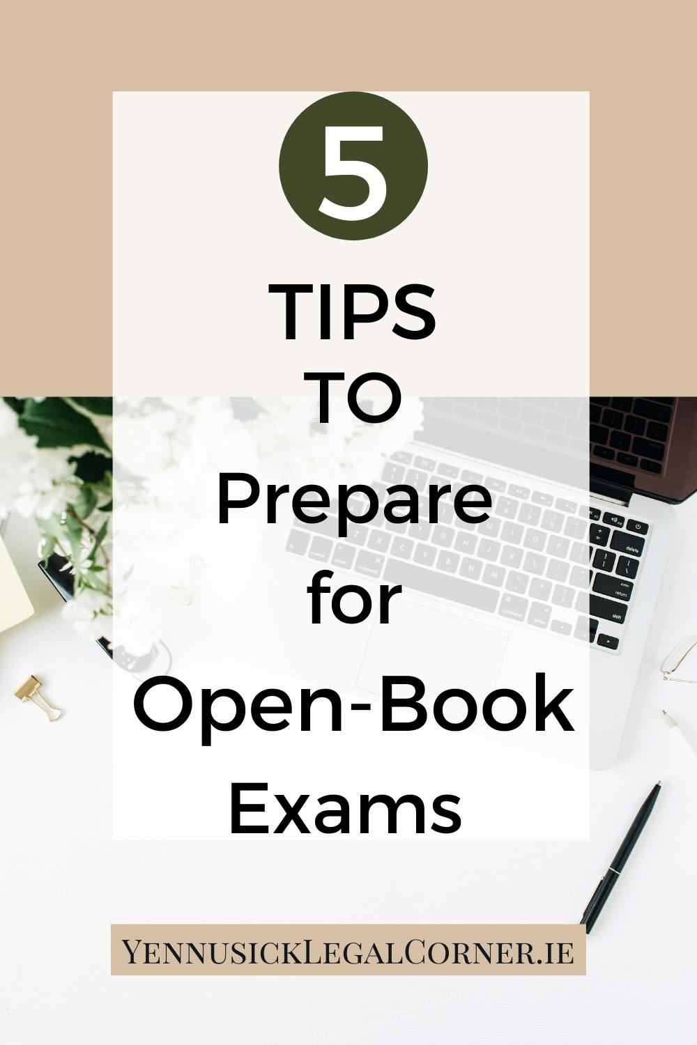 5 top tips to prepare for open-book exams MacBook on white table beside plants and stationary being background, white overlay